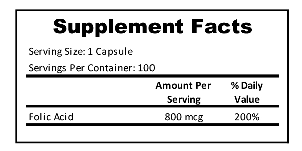 Folic Acid supplement facts