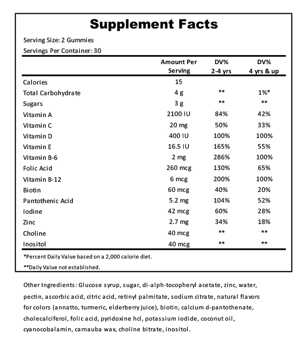 Kids Multivitamin Supplement Facts