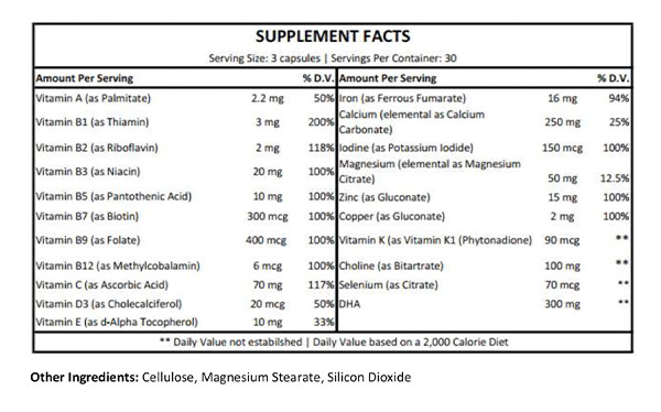 Preconception Supplement Facts
