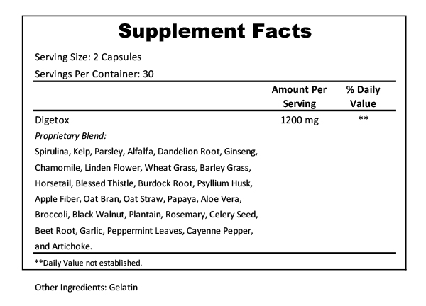 digest max supplement facts