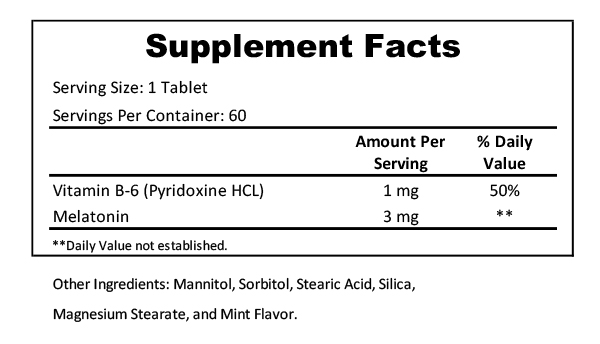 melatonin 3mg supplement facts
