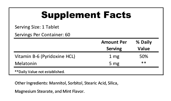 melatonin 5mg mint supplement facts